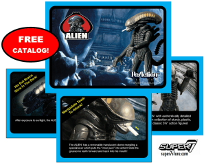 "ALIEN REACTION FIGURE CATALOG Thirty-four years in the making! Get the lowdown on Super7's plans for the ALIEN ReAction Figure line in our ""vintage style"" catalog! Catalogs will be included […]"
