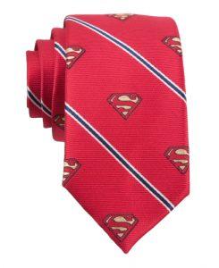 DC Comics Superman Logo Stripe Four-In-Hand Tie _Red