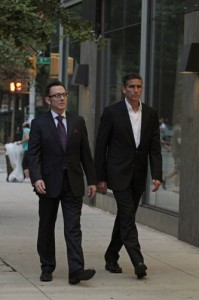 (L-R) Michael Emerson and Jim Caviezel star in Warner Bros. Television's Person of Interest, returning for its fourth season September 23 and airing Tuesdays 10/9c on CBS. (Photo Credit: © Warner Bros. Entertainment Inc. All Rights Reserved.)