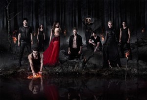 The Vampire Diaries -- Pictured (L-R): Ian Somerhalder as Damon, Paul Wesley as Stefan/Silas, Nina Dobrev as Katherine, Nina Dobrev as Elena, Zach Roerig as Matt, Kat Graham as Bonnie, Steven R. McQueen as Jeremy, Candice Accola as Caroline, and Michael Trevino as Tyler -- Photo: Nino Muñoz/The CW -- © 2013 The CW Network, LLC. All rights reserved.