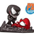 An epic Marvel Comics battle is recreated in the equally epic Funko Pop! Style with this PREVIEWS Exclusive Pop! Comic Moment Spider-Man Vs. Venom!