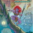 She purple, climbs trees, dresses in minimal loincloth, carries a spear, and fights aliens. It's Kyrra, the Alien Jungle Girl. And Scout Comics has Volume 1 available!